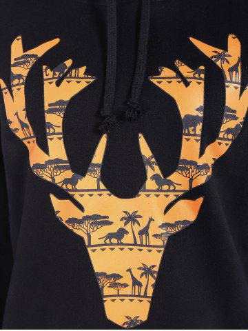 Latest Casual Drawstring Elk Print Christmas Hoodie - L BLACK Mobile