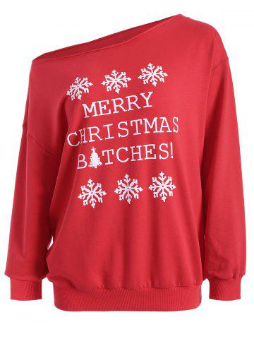 Fancy Casual Skew Neck Christmas Pullover Sweatshirt - L RED Mobile