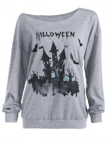 Outfit Casual Skew Neck Halloween Pullover Sweatshirt GRAY XL