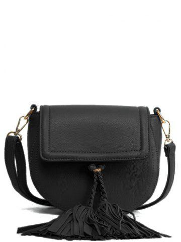 Unique Textured PU Leather Tassel Crossbody Bag