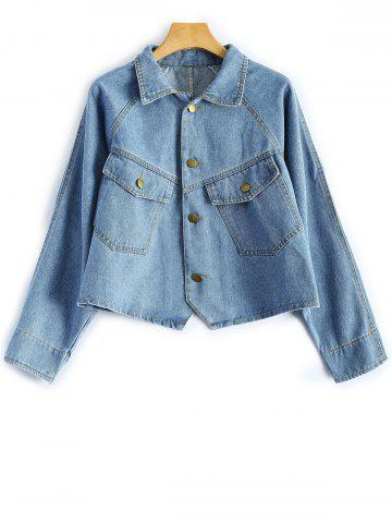 Latest Shirt Neck Cropped Jean Jacket with Sleeves LIGHT BLUE M