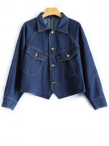 Shirt Neck Cropped Jean Jacket with Sleeves - Deep Blue - L