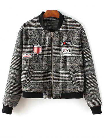 Latest Houndstooth Patch Design Jacket COLORMIX L