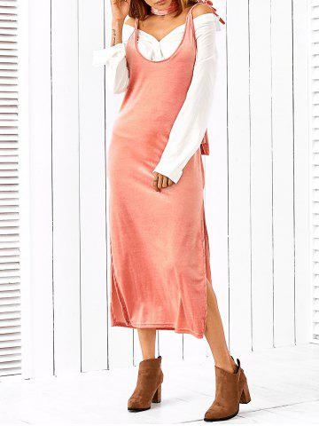 Fancy Side Slit Slip Dress With Scarf PINK M
