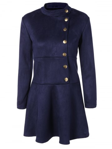 Affordable Long Sleeve Buttoned A Line Dress DEEP BLUE S