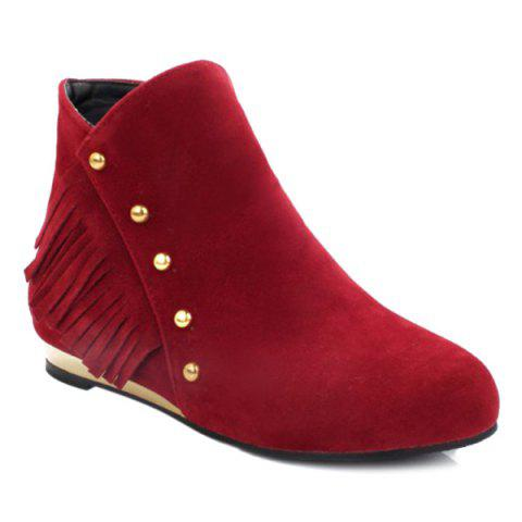 Outfits Zipper Dome Stud Flat Ankle Boots RED 39