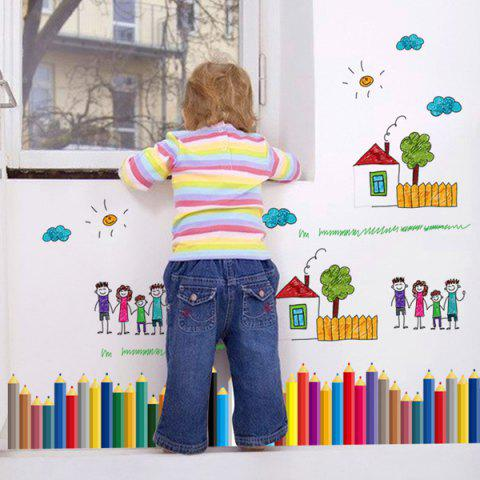 Fancy Pencil Removable Kids Room Wall Stickers COLORFUL