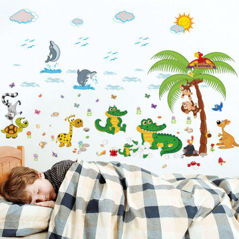 Store Animal Paradise Cartoon Kids Room Wall Stickers COLORFUL
