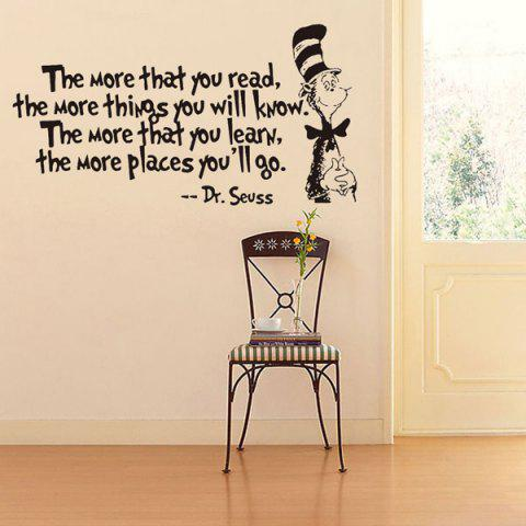 Trendy The More English Proverb Removable Vinyl Wall Decal Stickers - BLACK  Mobile