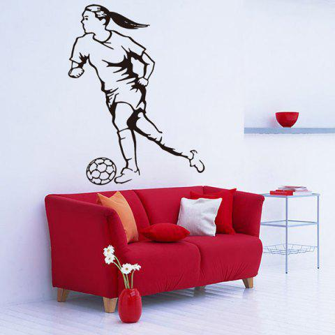 Outfits Female Football Player Removable Sports Vinyl Decals Wall Stickers BLACK
