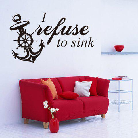 Vinyl Removable Anchor Quote Room Decor Wall Stickers - Black - W59 Inch * L59 Inch