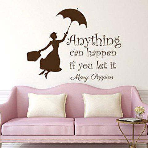 Outfits Anything Can Happen Quote Removable Room Wall Stickers BLACK