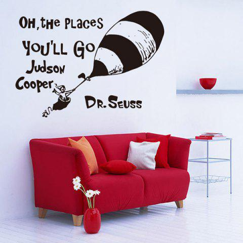 Sale Creative Cartoon Proverb Removable Living Room Wall Stickers