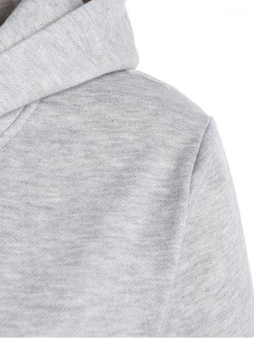 Discount Long Sleeve Letter Print Christmas Pullover Hoodie - L GRAY Mobile