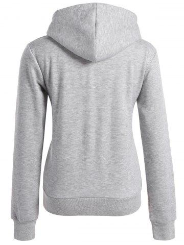 Discount Long Sleeve Letter Print Christmas Pullover Hoodie - M GRAY Mobile