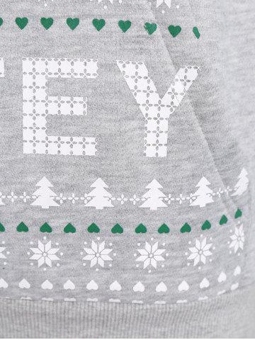 Store Long Sleeve Letter Print Christmas Pullover Hoodie - S GRAY Mobile