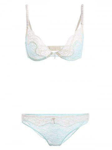 Trendy Lace See-Through Bowknot Bra Set