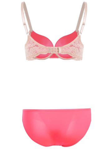 Sale Lace Spliced Gathered Embroidered Bra Set - 80B ROSE RED Mobile