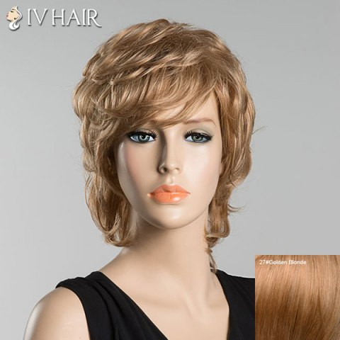 Online Short Inclined Bang Slightly Curled Siv Human Hair Wig GOLDEN BLONDE