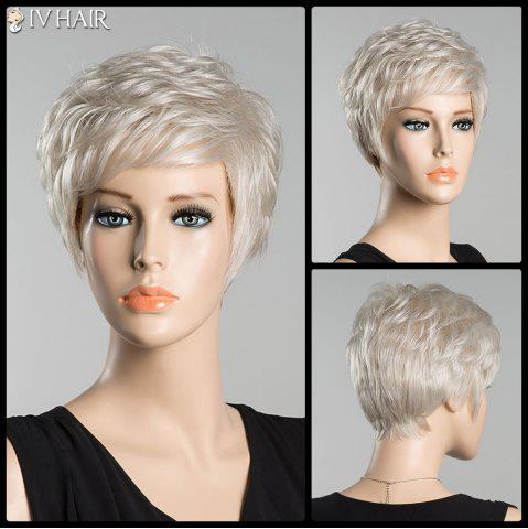 Discount Short Fluffy Inclined Bang Slightly Curled Siv Human Hair Wig