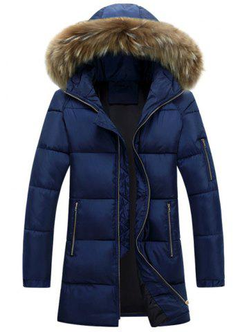 Furry Hood Longline Zip Up Padded Coat - Blue - M