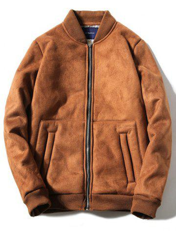 Outfit Stand Collar Fleece Zip-Up Thicken Suede Coat CAMEL 3XL