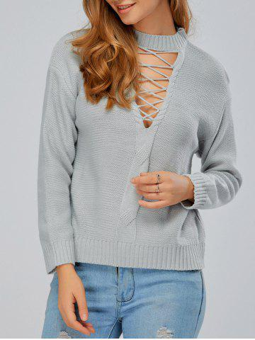Cheap Drop Shoulder Cut Out Criss Cross Knitwear LIGHT GRAY ONE SIZE