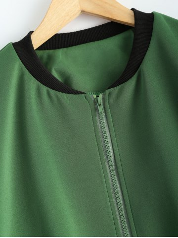 Best Plus Size  Fitted Bomber Jacket - 3XL ARMY GREEN Mobile