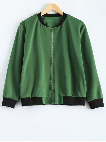 Shop Plus Size  Fitted Bomber Jacket - 3XL ARMY GREEN Mobile