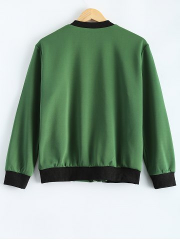 Unique Plus Size  Fitted Bomber Jacket - 3XL ARMY GREEN Mobile