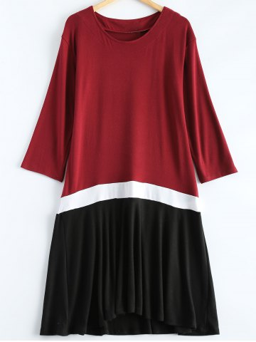 Shops Plus Size Color Block Ruffle Long Sleeve Dress WINE RED 4XL
