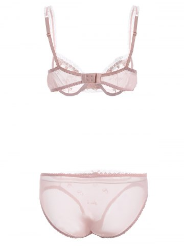 Affordable See-Through Bowknot Lace Bra Panty Set - 75A PINK Mobile