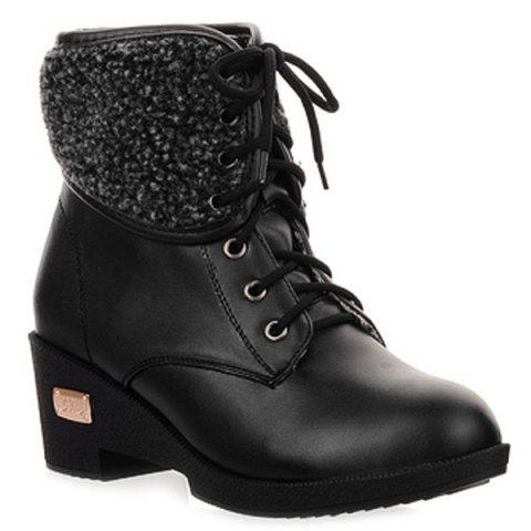 Affordable Faux Shearling Wedge Heel Lace-Up Boots BLACK 39