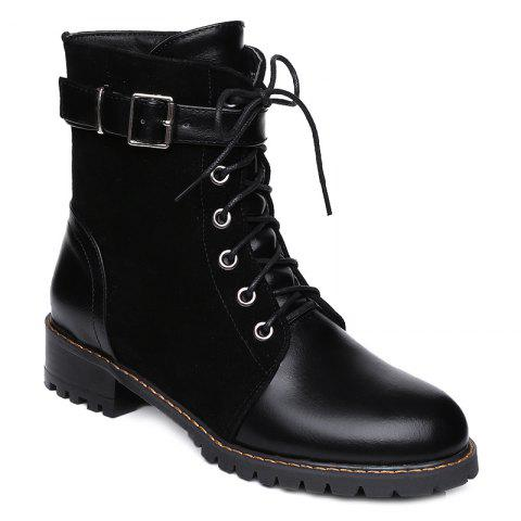 Hot Suede Spliced Buckle Strap Lace-Up Combat Boots BLACK 39