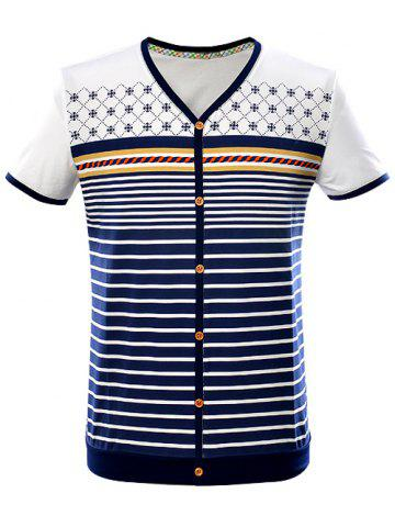 Hot V-Neck Button Embellished Striped Contrast Trim T-Shirt