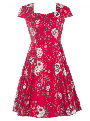 Affordable Splicing Skull Floral Print Party Dress RED 2XL