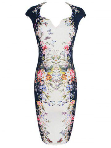 Sale Vintage Slit Print Sheath Dress