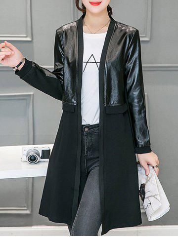 Best Leather Panel Long Collarless Coat BLACK 2XL
