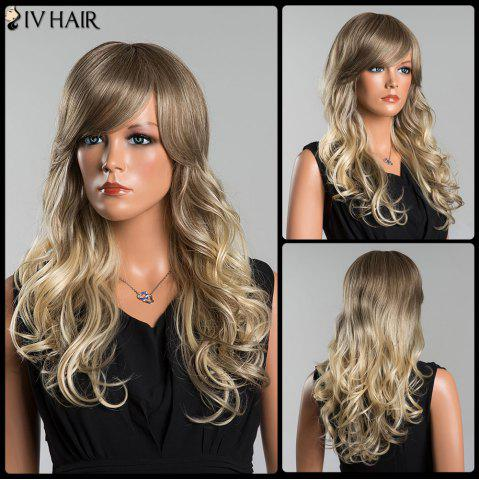 Sale Siv Long Colormix Fluffy Wavy Oblique Bang Human Hair Wig