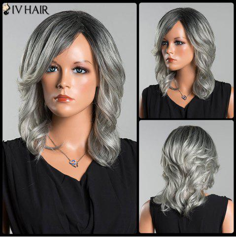 Online Siv Long Side Parting Colormix Wavy Human Hair Wig - COLORMIX  Mobile