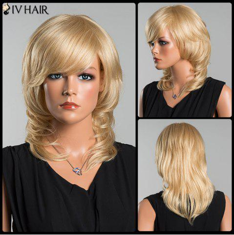 Siv Long Oblique Bang Wavy Tail Adduction Human Hair Wig - LIGHT GOLD