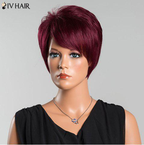 Best Siv Short Oblique Bang Pixie Straight Human Hair Wig - WINE RED  Mobile