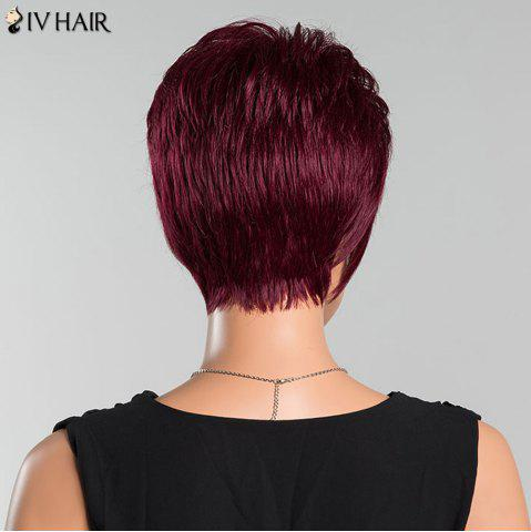 Sale Siv Short Oblique Bang Pixie Straight Human Hair Wig - WINE RED  Mobile