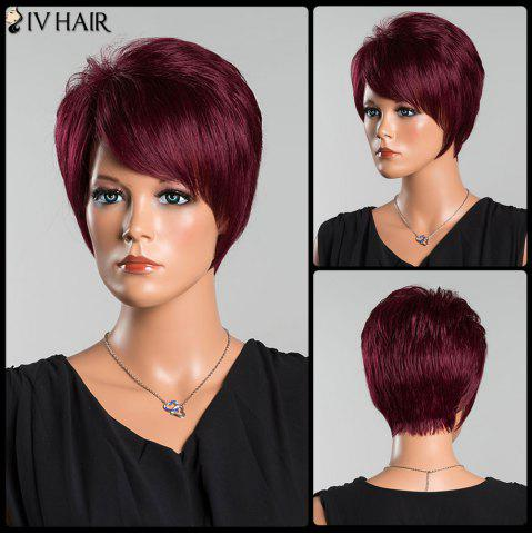 Outfits Siv Short Oblique Bang Pixie Straight Human Hair Wig WINE RED
