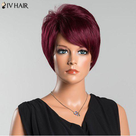 Hot Siv Short Oblique Bang Pixie Straight Human Hair Wig - WINE RED  Mobile
