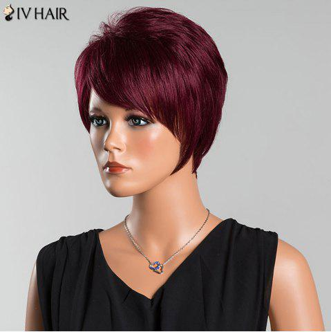 Shops Siv Short Oblique Bang Pixie Straight Human Hair Wig - WINE RED  Mobile