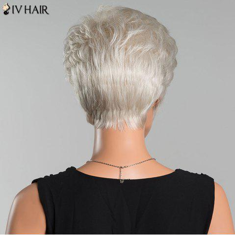 Fashion Siv Short Layered Curly Oblique Bang Human Hair Wig - SILVER WHITE  Mobile