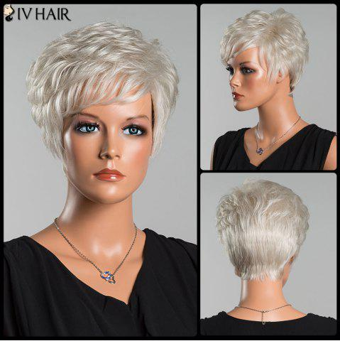 Chic Siv Short Layered Curly Oblique Bang Human Hair Wig - SILVER WHITE  Mobile