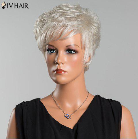 Buy Siv Short Layered Curly Oblique Bang Human Hair Wig - SILVER WHITE  Mobile