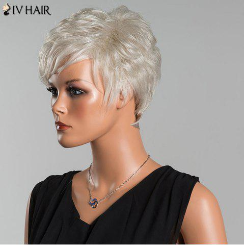 Unique Siv Short Layered Curly Oblique Bang Human Hair Wig - SILVER WHITE  Mobile